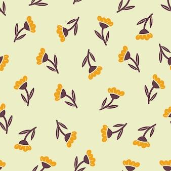 Modèle sans couture dessiné main de fleur jaune simple