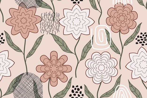 Modèle sans couture dessiné main fleur tropicale
