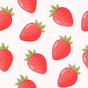 Modèle sans couture dessiné main fraise