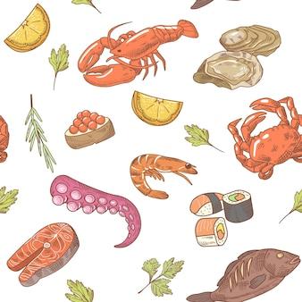 Modèle sans couture dessiné main fruits de mer