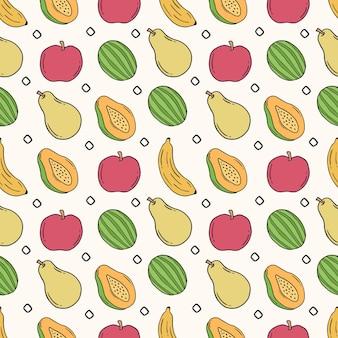 Modèle sans couture dessiné à la main de fruits
