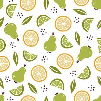 Modèle sans couture dessiné main de fruits