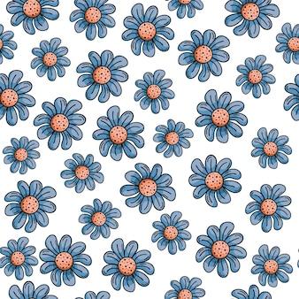Modèle sans couture dessiné main avec des griffonnages. fleurs bleues, marguerites.