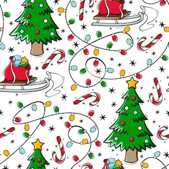 Modèle sans couture dessiné à la main avec guirlande de canne en bonbon d'arbre de noël et traîneau dans un style doodle