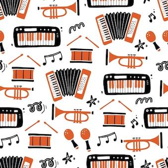 Modèle sans couture dessiné main d'instruments de musique