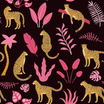 Modèle sans couture dessiné main avec léopards, palmiers