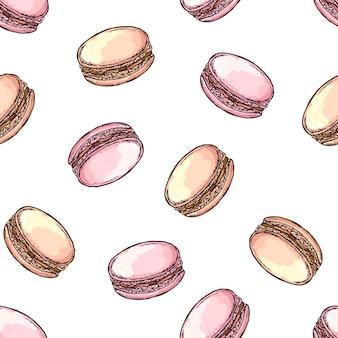 Modèle sans couture dessiné main macarons