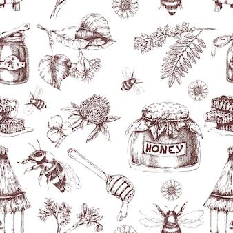 Modèle sans couture dessiné à la main de miel