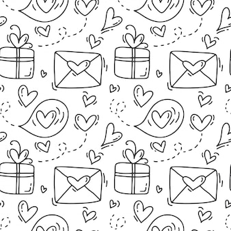 Modèle sans couture dessiné main mignon avec enveloppes et coffrets cadeaux