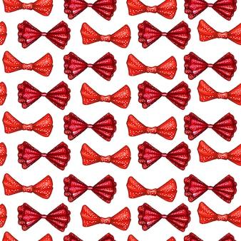 Modèle sans couture dessiné main noeuds rouges