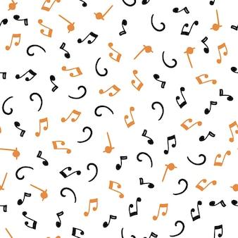 Modèle sans couture dessiné main de notes de musique. style de croquis plat.