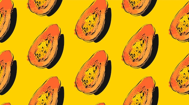 Modèle sans couture dessiné main avec papaye de fruits tropicaux exotiques