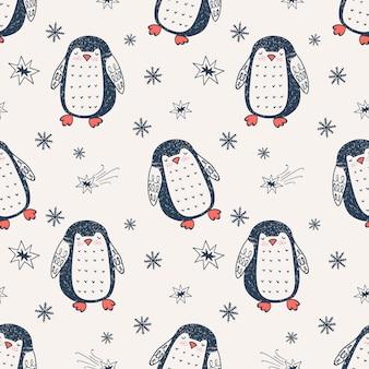 Modèle sans couture dessiné de main pingouin