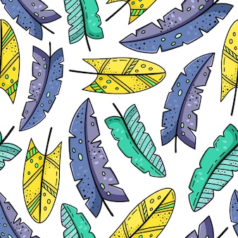 Modèle sans couture dessiné main avec des plumes de doodle.