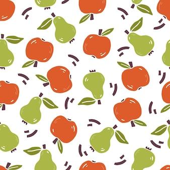 Modèle sans couture dessiné à la main de poire simple, pomme. style de croquis de griffonnage. motif de fruits pour papier peint
