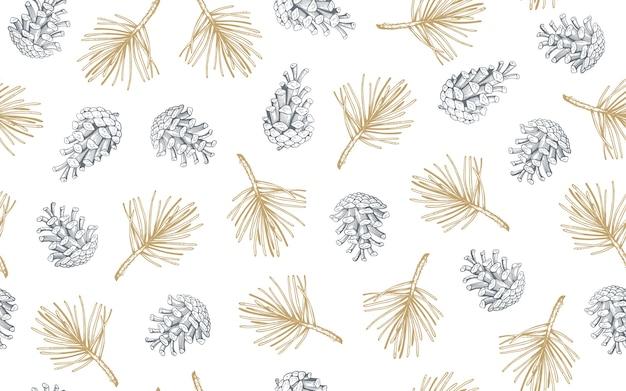Modèle sans couture dessiné main avec des pommes de pin et des branches.