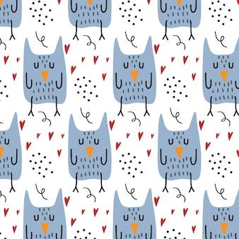 Modèle sans couture dessiné à la main pour enfants avec un hibou modèle avec un hibou et des coeurs