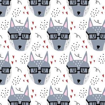 Modèle sans couture dessiné à la main pour enfants de vecteur avec le loup gris un loup avec des lunettes et des coeurs