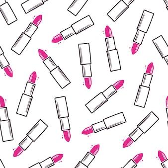 Modèle sans couture dessiné main de rouge à lèvres de maquillage