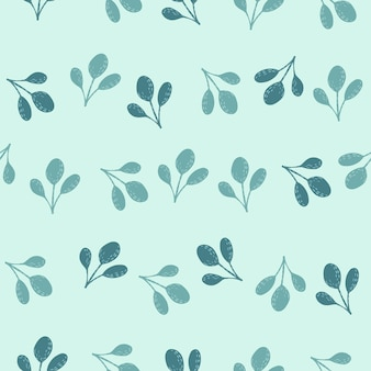 Modèle sans couture dessiné à la main avec des silhouettes abstraites de feuillage. éléments de feuille bleue sur fond pastel. stock illustration. conception vectorielle pour textile, tissu, emballage cadeau, fonds d'écran.