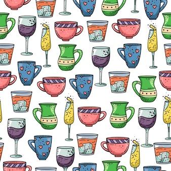 Modèle sans couture dessiné main avec tasses et verres.