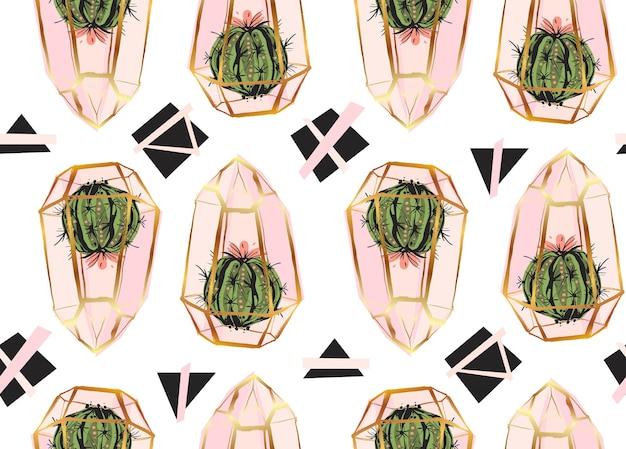 Modèle sans couture dessiné main avec terrarium doré et plantes de cactus