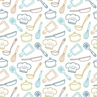 Modèle sans couture dessiné main sur le thème du chef, de la cuisine et du cuisinier.