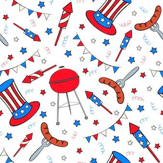 Modèle sans couture dessiné à la main avec des trucs de la fête de l'indépendance dans le style doodle
