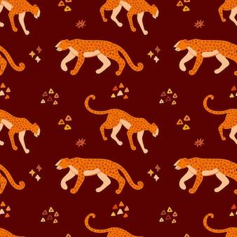 Modèle sans couture dessiné de main vector avec jaguars. ornement avec des léopards.