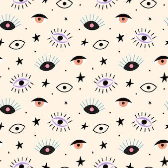 Modèle sans couture dessiné main avec les yeux et les étoiles