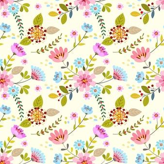 Modèle sans couture dessinés à la main de fleurs colorées.