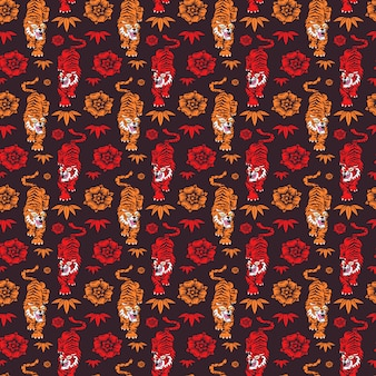 Modèle sans couture dessinés à la main de tigres chinois