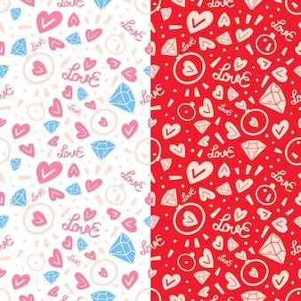 Modèle sans couture de deux amour doodle