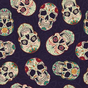 Modèle sans couture de dia de los muertos