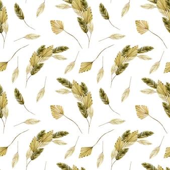 Modèle sans couture avec différentes feuilles de palmier séchées à l'aquarelle
