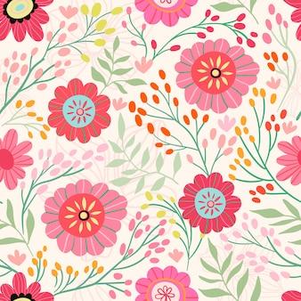 Modèle sans couture avec différentes fleurs en fleurs et plantes