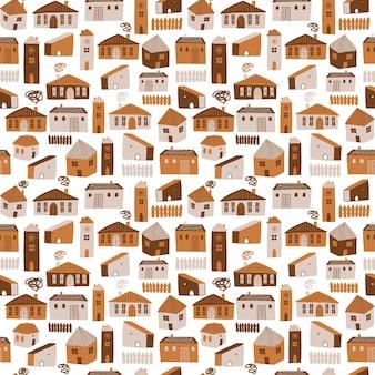 Modèle sans couture avec différentes maisons illustration vectorielle mignon