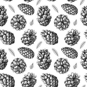 Modèle sans couture avec différentes pommes de pin. croquis, illustration à la main