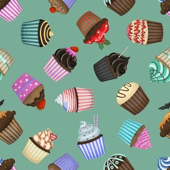 Modèle sans couture avec différents cupcakes