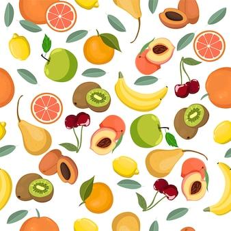 Modèle sans couture avec différents fruits. .
