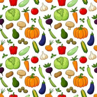 Modèle sans couture avec différents légumes. les éléments linéaires colorés dessinés à la main avec un contour sont isolés sur un fond transparent. pour la conception d'accessoires de cuisine et d'emballages alimentaires.