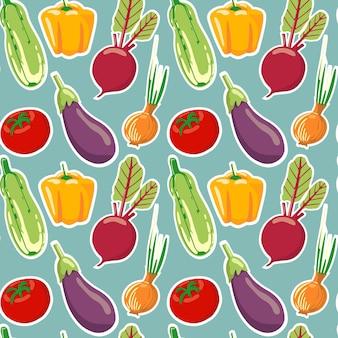 Modèle sans couture de différents légumes