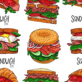 Modèle sans couture de différents sandwichs appétissants.