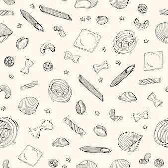 Modèle sans couture avec différents types de pâtes crues dessinés à la main avec des lignes de contour noires