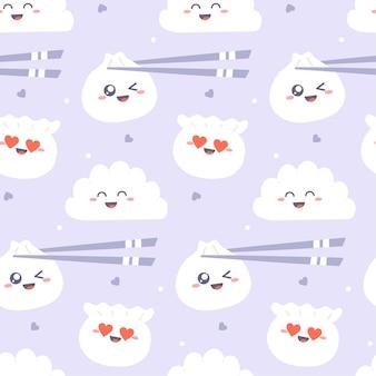 Modèle sans couture de dim sum. boulettes kawaii mignonnes avec des baguettes sur violet