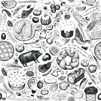 Modèle sans couture de dîner de pâques