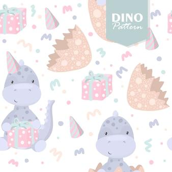 Modèle sans couture de dinosaure avec des oeufs et des cadeaux