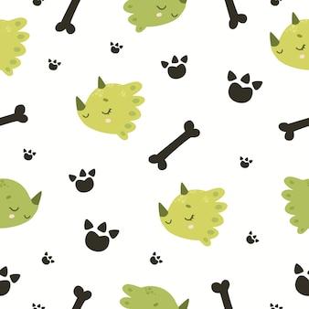 Modèle sans couture dinosaure et os prêt à imprimer