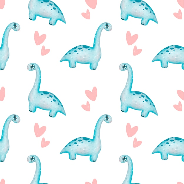 Modèle sans couture de dinosaures dessin animé mignon