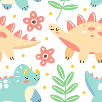 Modèle sans couture avec des dinosaures et des feuilles dans un style de dessin animé mignon